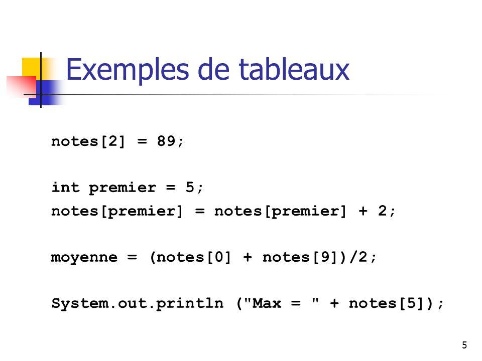 Exemples de tableaux notes[2] = 89; int premier = 5;
